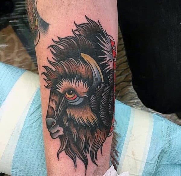 Mens Bison Traditional Arm Tattoo
