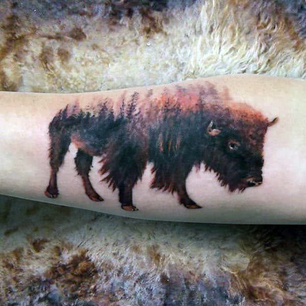 Mens Bison Tree Forest Forearm Tattoo