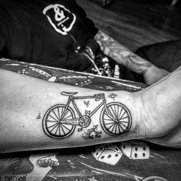 Mens Biycle Pencil Art Tattoo On Forearms