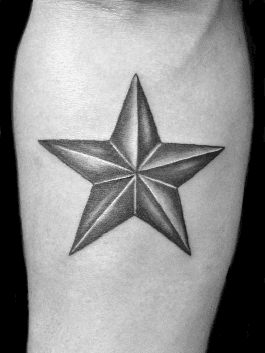 Mens Black And Grey Cool Inner Forearm Simple Star Tattoos