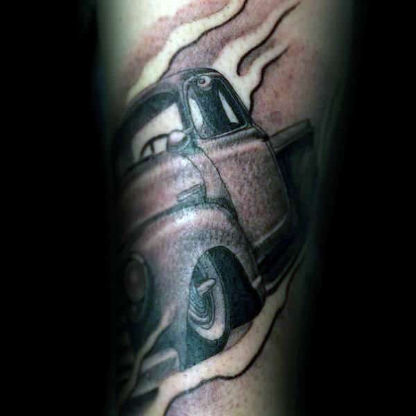 Mens Black And Grey Cool Vintage Truck Forearm Tattoos