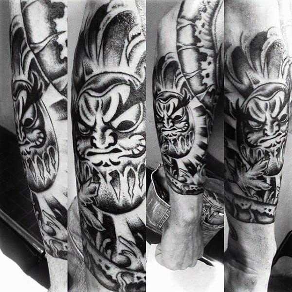 Mens Black And Grey Daruma Doll Shaded Sleeve Tattoo On Forearm