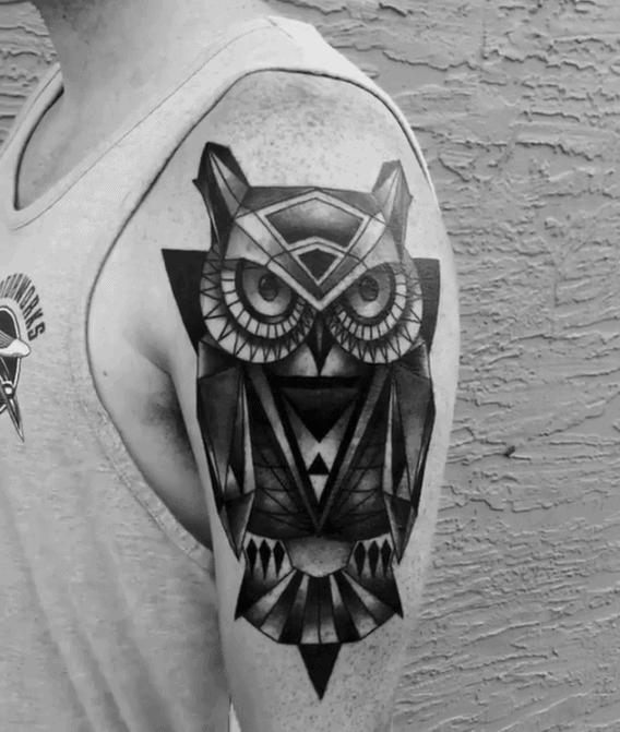 Mens Black And Grey Heavily Shaded Geometric Owl Arm Tattoo