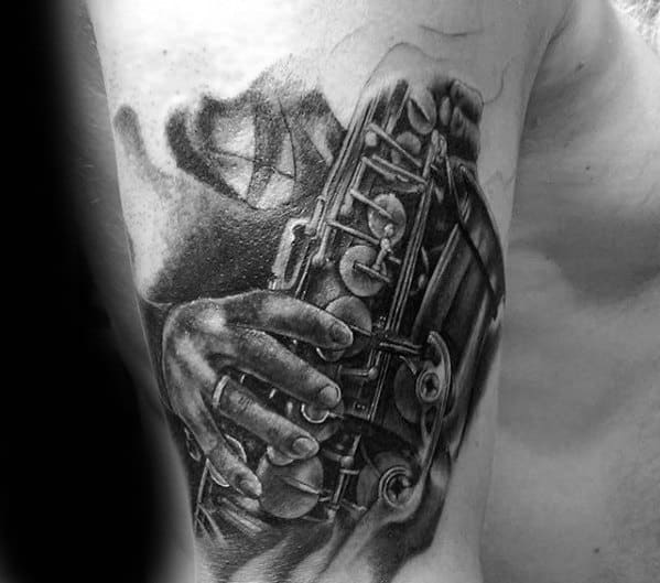 Mens Black And Grey Ink Saxophone Shaded Arm Tattoo