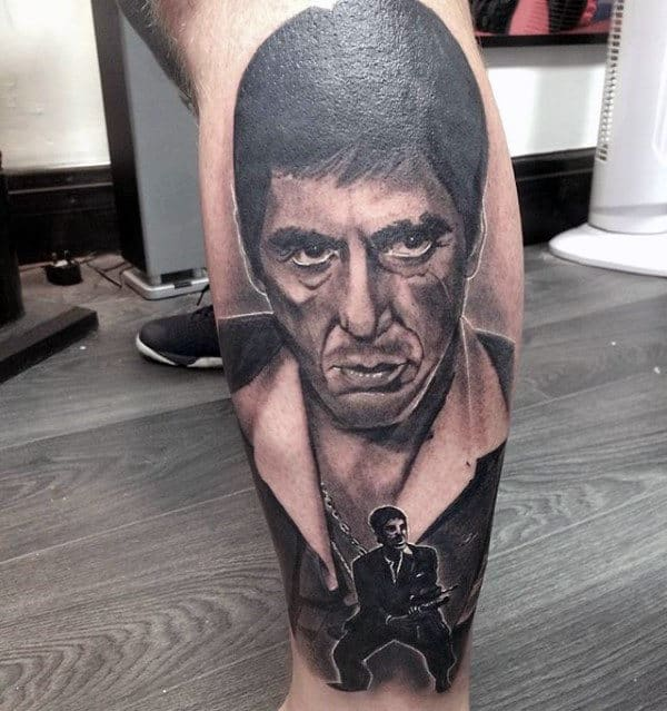 Mens Black And Grey Scarface Leg Tattoo Designs