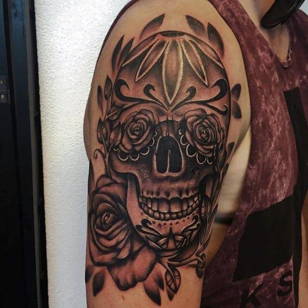 Mens Black And Grey Shaded Sugar Skull Upper Arm Tattoo Design
