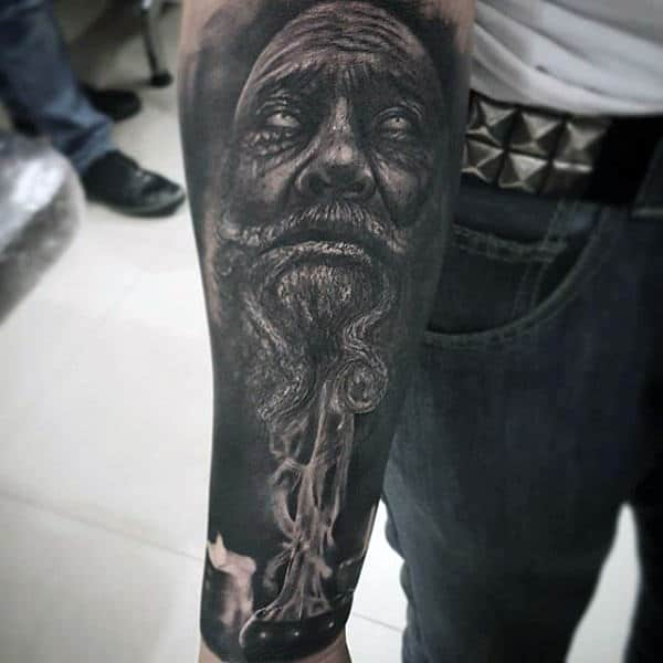Mens Black And White Wrinkled Old Man And Candle Tattoo Forearms
