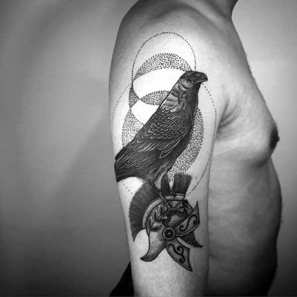 Mens Black Crow With Spartan Unique Arm Tattoo