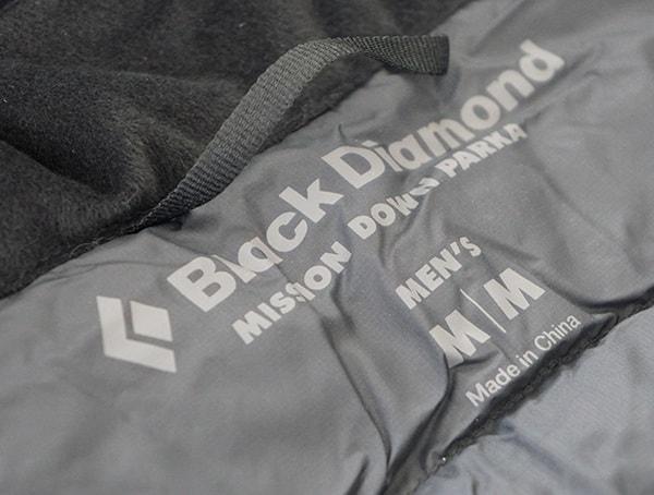 Mens Black Diamond Mission Down Ski Parka Inner Tag