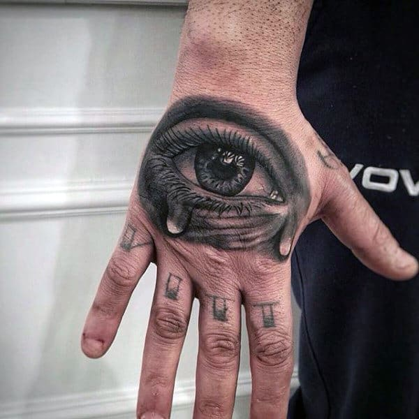Mens Black Eye Tattoo On Hands