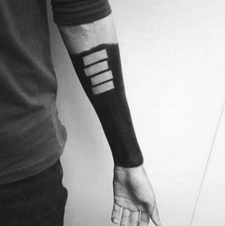 Mens Black Flag Forearm Sleeve Negative Space Tattoo Design Inspiration