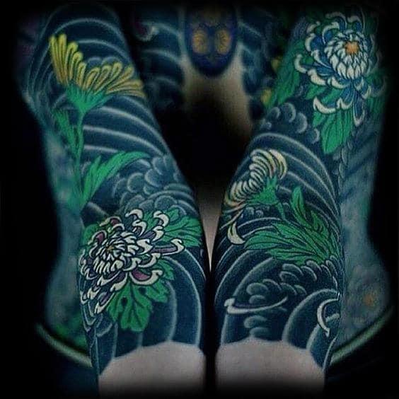 Mens Black Green Japanese Sleeve Tattoo