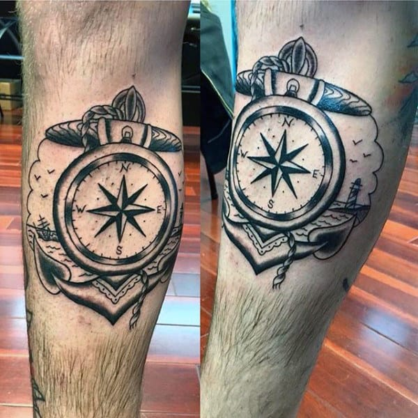 Mens Black Ink Anchor Traditional Compass Leg Tattoos