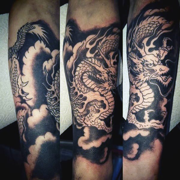 Mens Black Ink Chinese Dragon Forearm Tattoo Ideas
