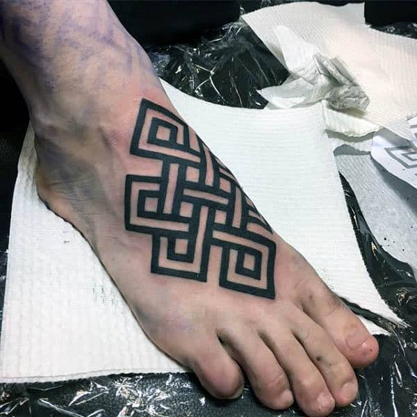 Mens Black Ink Endless Knot Foot Tattoos