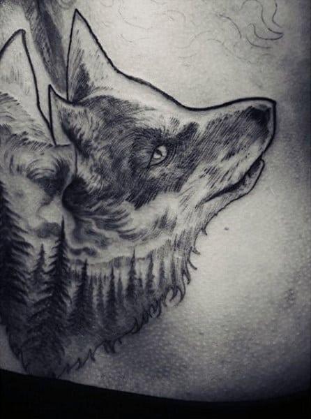 Mens Black Ink Foxhead Tattoo On Rib Cage Side