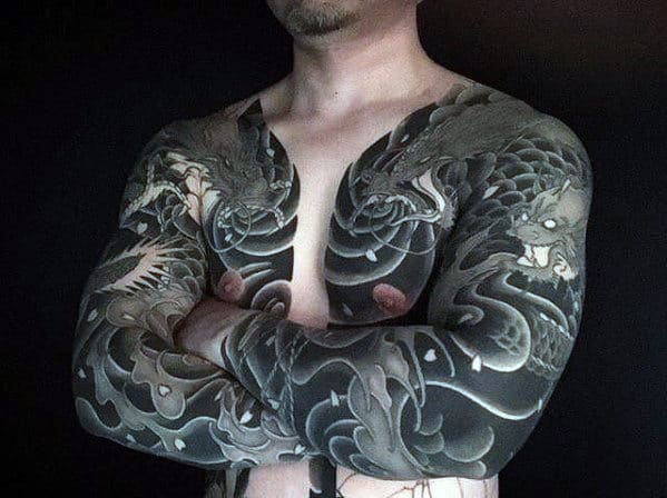 Mens Black Ink Japanese Dragon Chest Tattoo Ideas