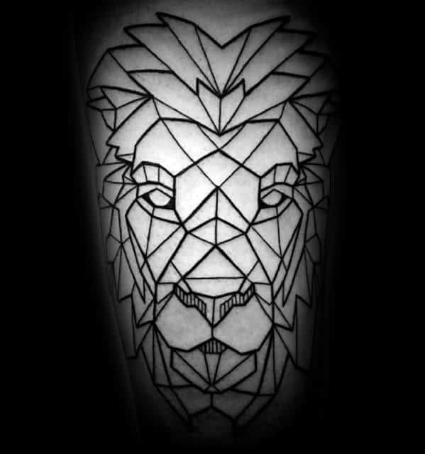 Mens Black Ink Lines Arm Geometric Lion Tattoo Design Ideas