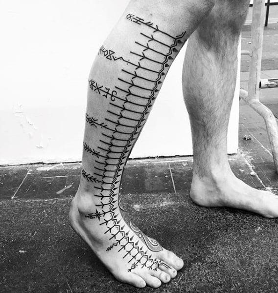 Mens Black Ink Linework Rune Leg Sleeve Tattoo
