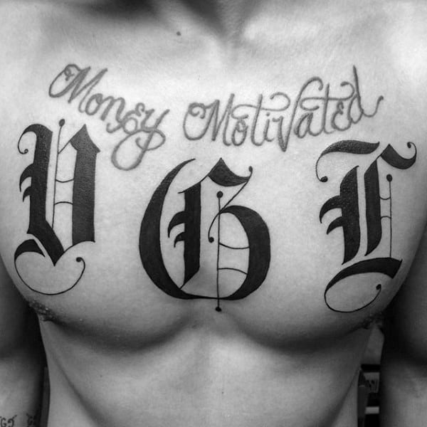Mens Black Ink Old English Initals Chest Tattoo
