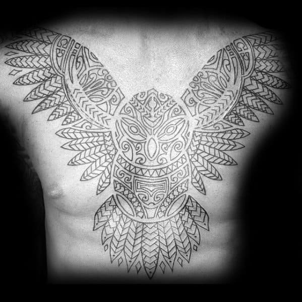 Mens Black Ink Outline Cool Tribal Owl Chest Tattoo