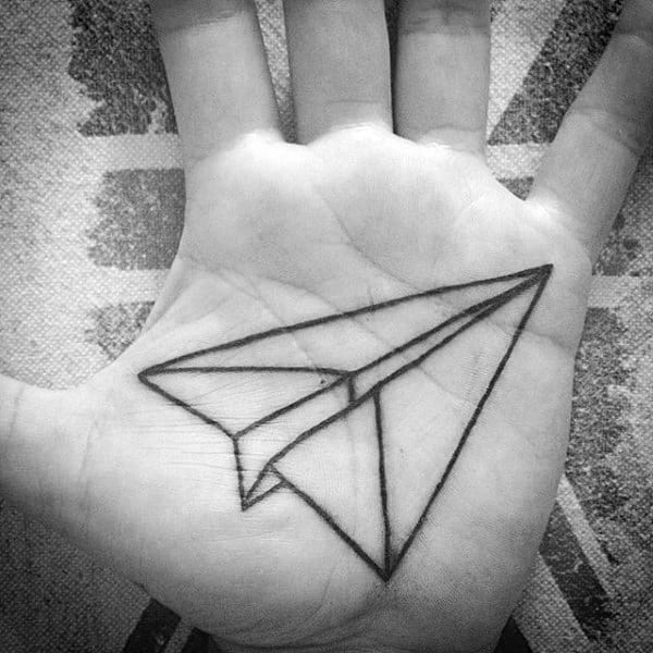 Mens Black Ink Outline Paper Airplane Palm Tattoo