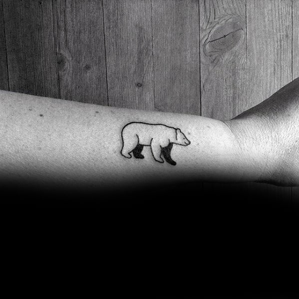 mens-black-ink-outline-polar-bear-cool-simple-side-of-forearm-tattoo