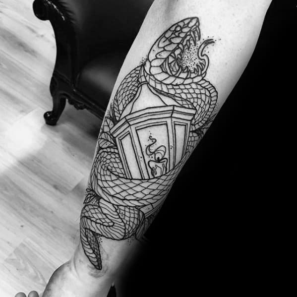 Mens Black Ink Outline Traditional Lantern Snake Tattoo On Outer Forearm