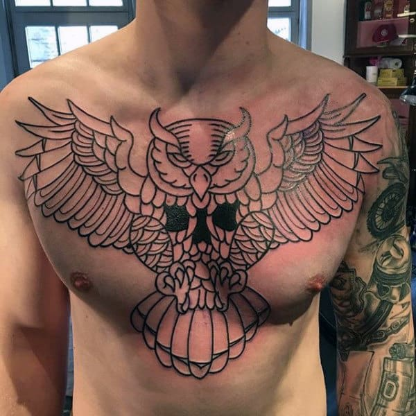 Mens Black Ink Outline Traditional Tattoo Design Ideas With Owl