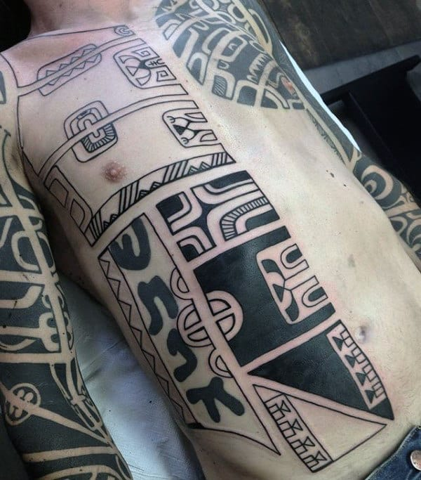 Mens Black Ink Outline Tribal Rib Tattoos