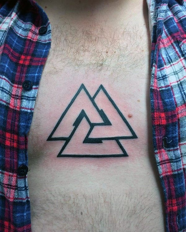 Mens Black Ink Outline Valknut Upper Chest Tattoos