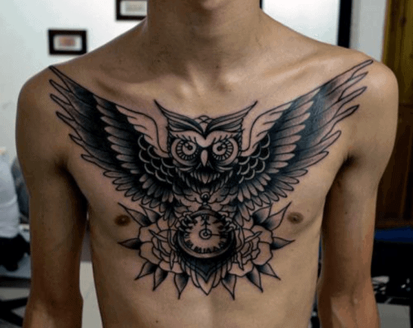 Mens Black Ink Owl Traditional Upper Chest Tattoos
