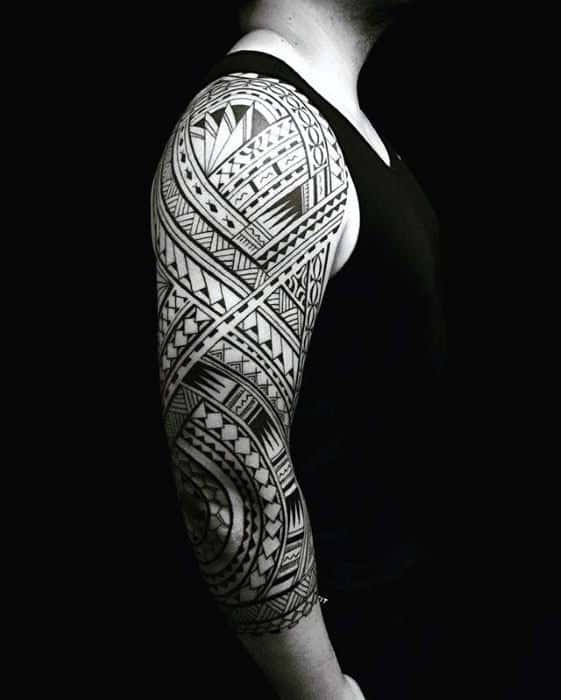 Mens Black Ink Polynesian Half Sleeve Tribal Tattoo Design Ideas