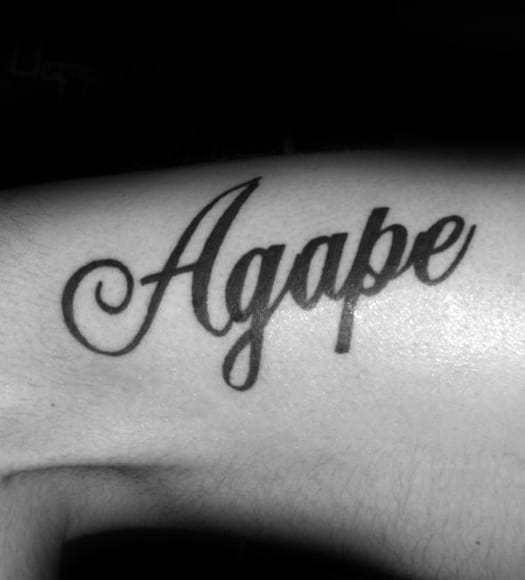 Mens Black Ink Script Agape Lettering Tattoo On Arm