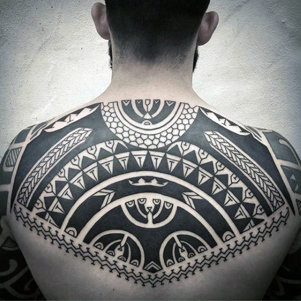 Mens Black Ink Shoulder And Back Tribal Tattoos