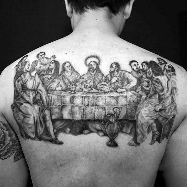 Mens Black Ink Sketched Last Supper Tattoo