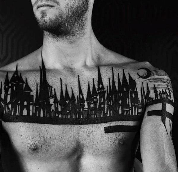 Mens Black Ink Skyline Upper Chest Tattoo Ideas