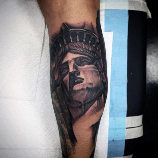 Mens Black Ink Statue Of Liberty On Bicep