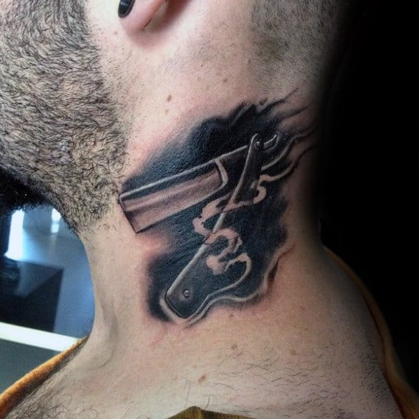 Tattoo For Men Neck: 90 Black Ink Tattoo Designs For Men