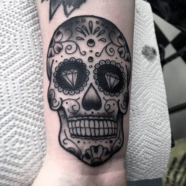Mens Black Ink Sugar Skull Wrist Tattoo Ideas