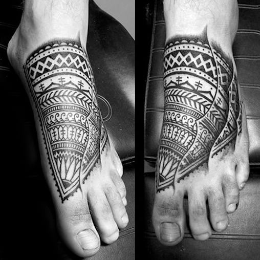Mens Black Ink Tribal Polynesian Tattoo On Foot