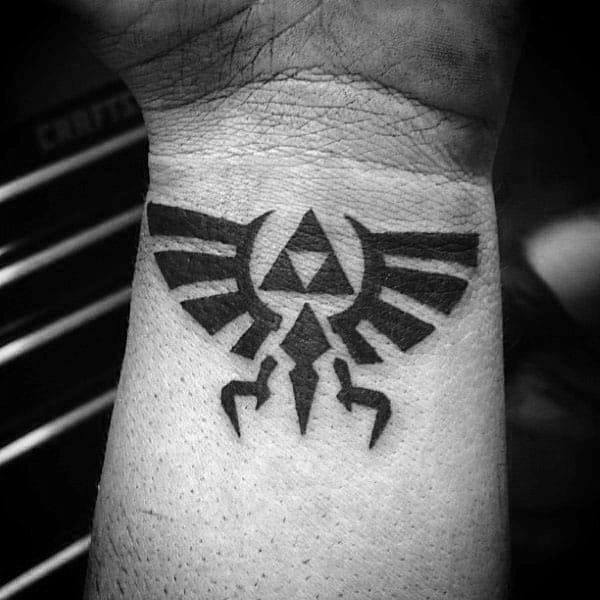 Mens Black Ink Triforce Wrist Tattos