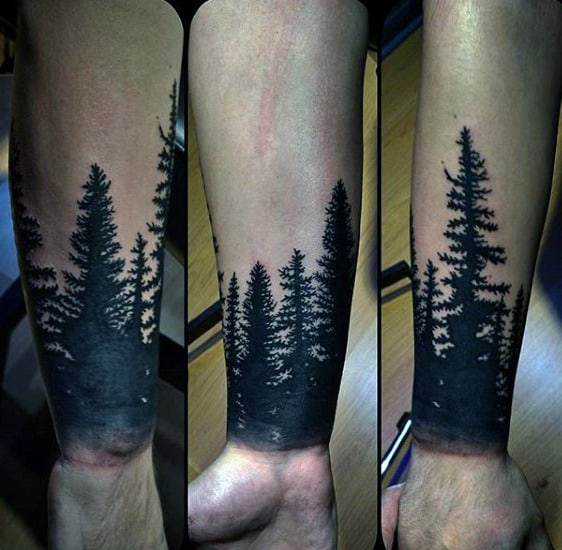 Mens Black Ink Wrist Forearm Tree Tattoos