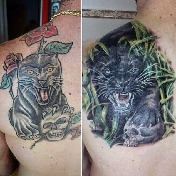 Mens Black Jaguar Tattoo Cover Up Ideas On Back Shoulder Blade
