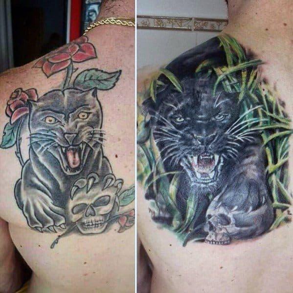 Mens Black Jaguar Tattoo Cover Up Ideas On Back Shoulder Blade