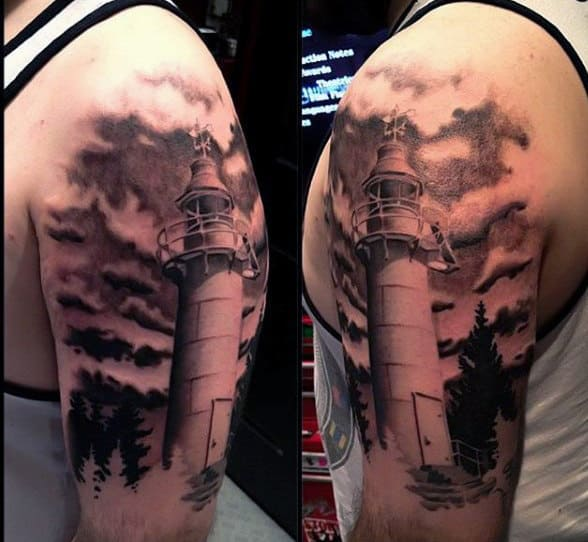 Mens Black Lighthouse Tattoo With Clouds On Arm