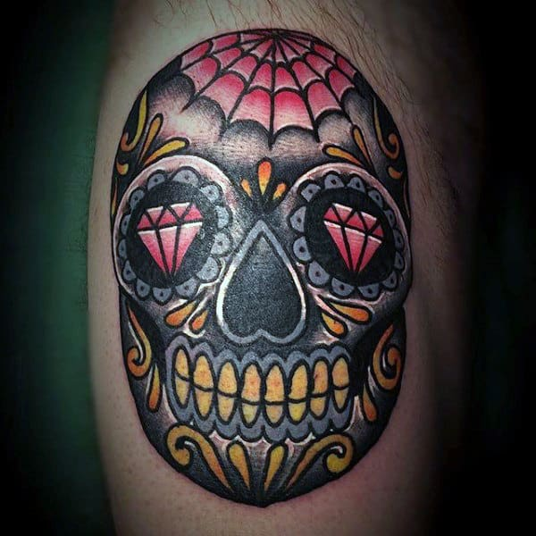 Mens Black Red And Yellow Ink Sugar Skull Bicep Tattoo