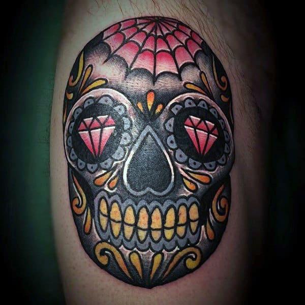Mens Black Red And Yellow Ink Sugar Skull Bicep Tattoo