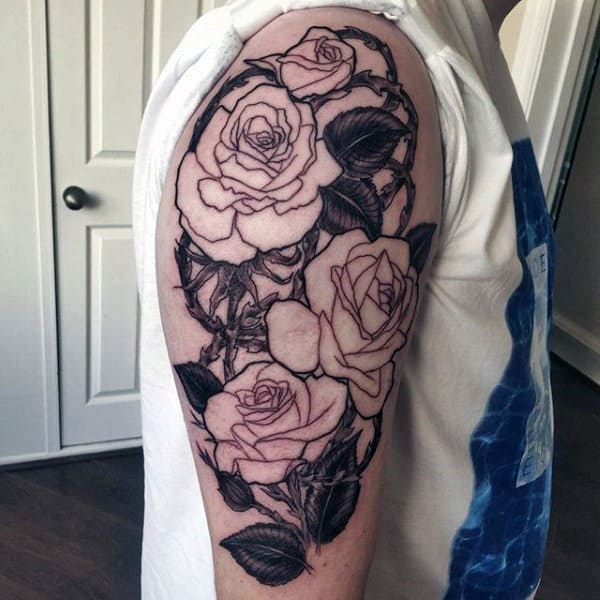 Men's Black Rose Flower Tattoo On Arm
