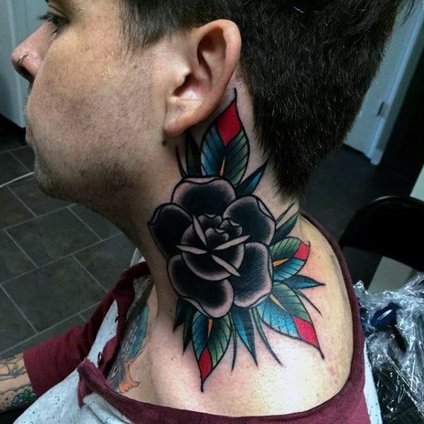 Mens Black Rose With Colorful Leaves Neck Tattoo